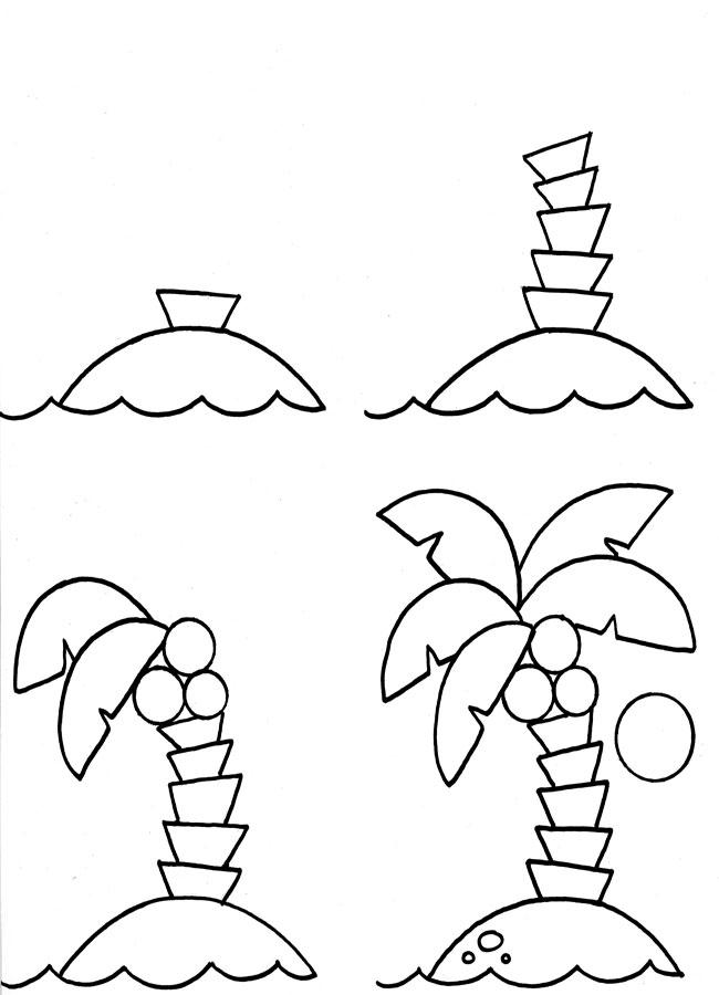 Учим предметы раскраски, пальма