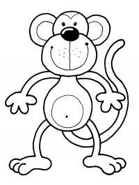 Учим животных раскраски, обезьянка