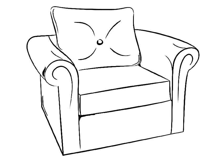 Учим предметы раскраски, кресло