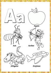 Буква а, яблоко, муравей, аэроплан