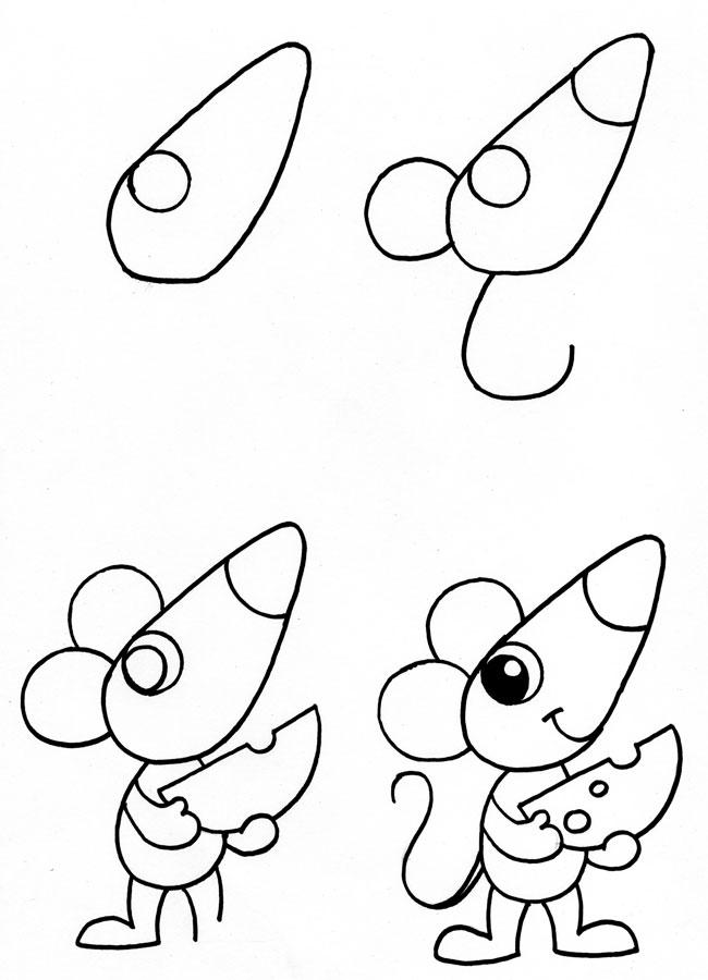 Мышка с сыром поэтапно