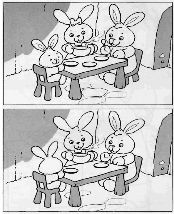 Найди отличия за обедом у зайчат