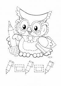 Раскраска сова в очка и с книжкой