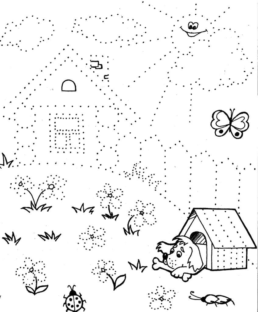 Подготовка руки к письму штриховка, домик с дворик и солнышко, собачка с косточкой в конуре