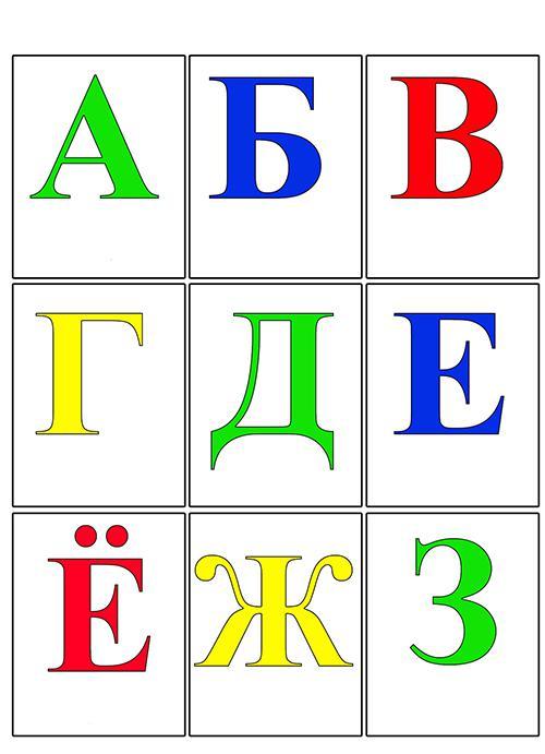 Карточки алфавит от а до з