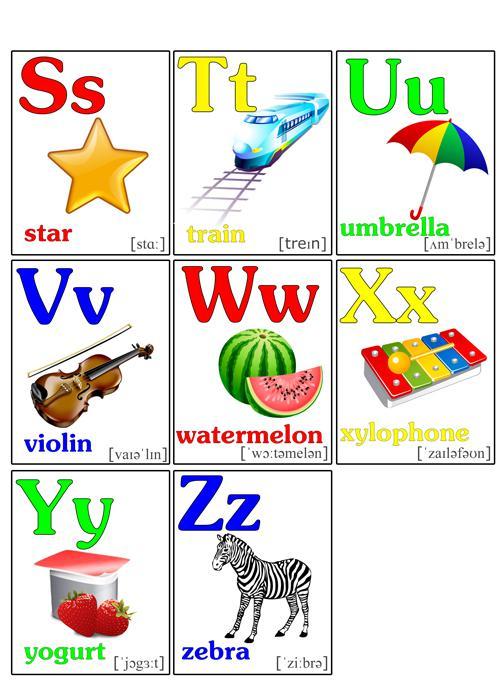Карточки алфавит английский от s до z, со словами и картинками