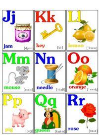 Карточки алфавит английский от j до r, со словами и картинками