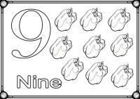 Карточки цифра 9