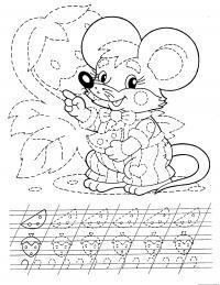 Подготовка руки к письму штриховка, раскраска мышонок с сыром и земляникой
