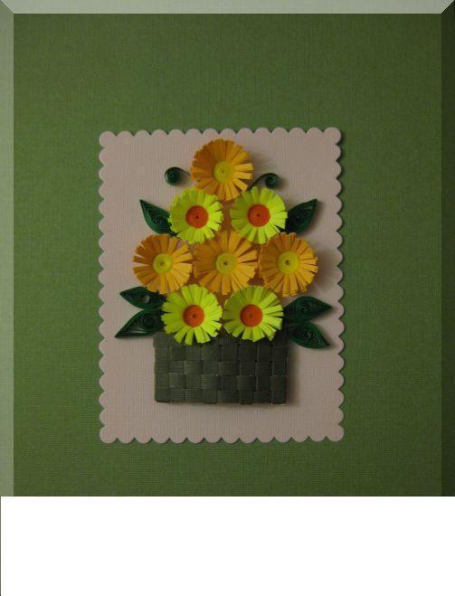 Цветы в плетеной корзинке, объемная аппликация из бумаги