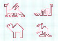 Графический диктант, дракон, змея, одногорбый верблюд, кенгуру