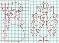 Графический диктант по клеточкам сложные, павлин, снеговик