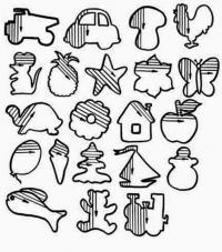 Штриховка, машины, грибы, птицы, животные, фрукты, растения, игрушки