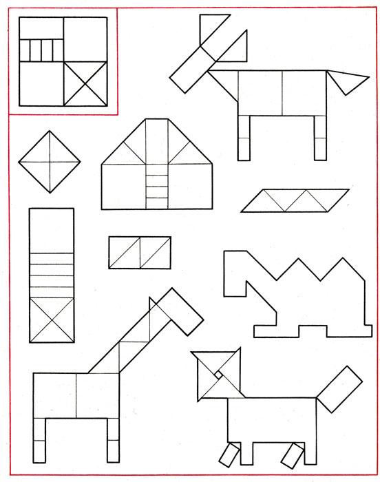 Фигуры из счетных палочек, лестничная площадка, ослик, домик, жираф, верблюд